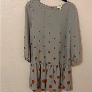 Meadow Rue Anthro Drop Waist Dress Polka Dot Sz 2